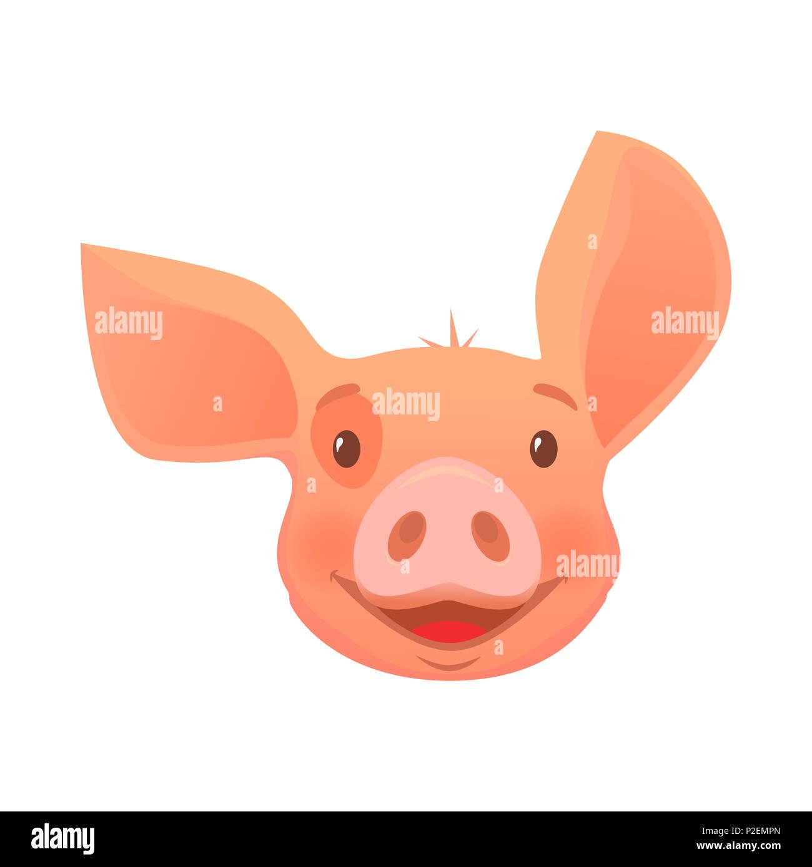 Cartoon Illustration Funny Pig Farm Stockfotos Cartoon