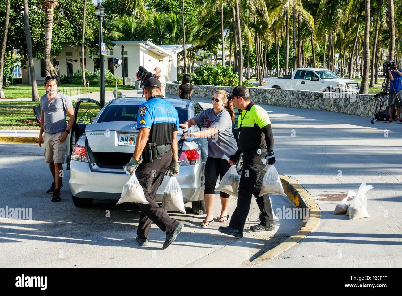 Florida Miami Beach kostenlos Sandsäcke Hurrikan Irma Vorbereitung Park Rangers freiwillige Durchführung Sandsäcke sand Hochwasserschutz Bewohner Hispanic Mann Frau Kofferraum Stockbild