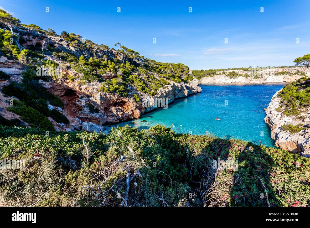 Calo des Moro, Mallorca, Balearische Inseln, Spanien ** Calo des Moro, Mallorca, Balearen, Spanien Stockbild