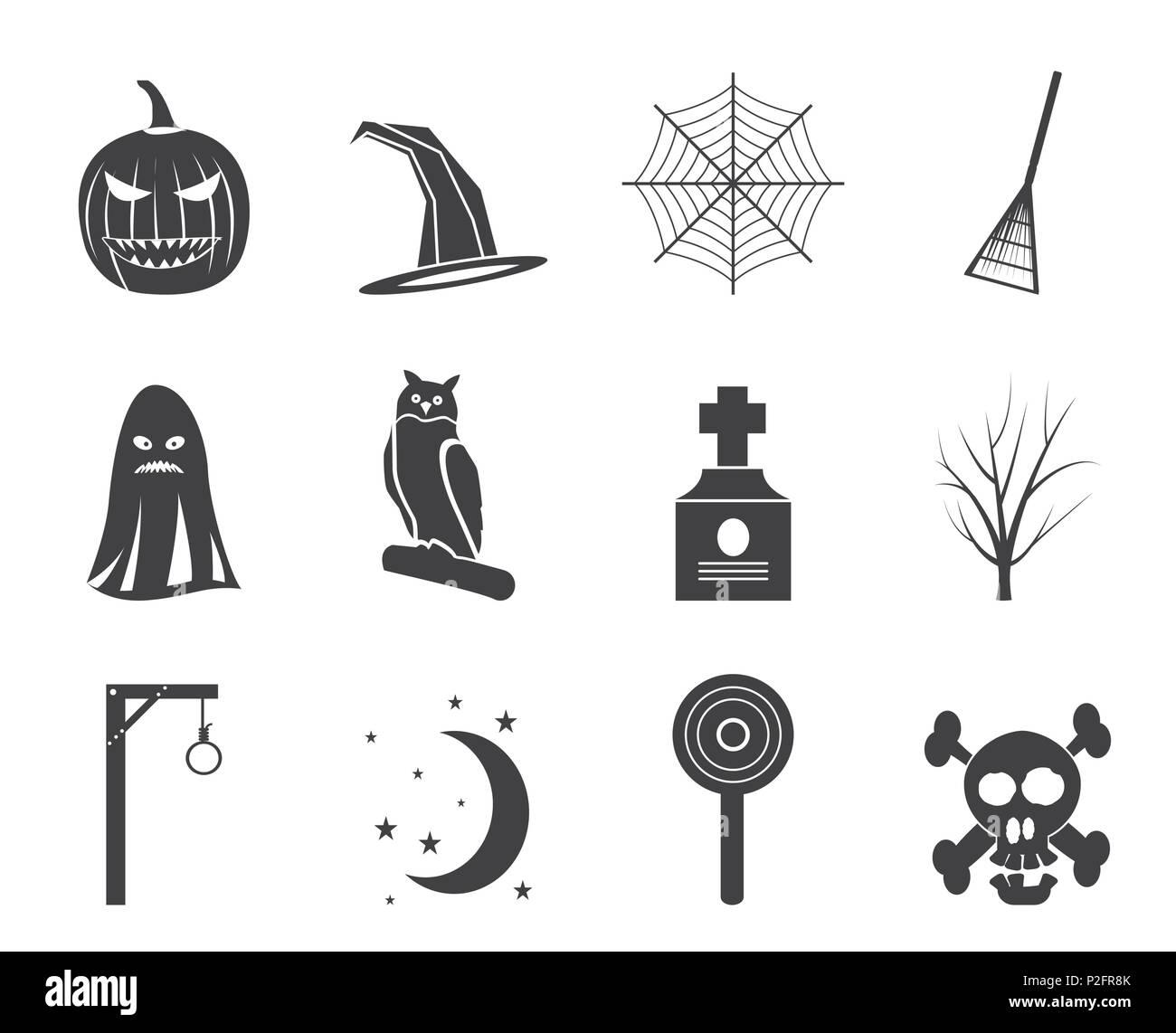 Silhouette Halloween Icon Pack Mit Fledermaus Kurbis Hexe Ghost