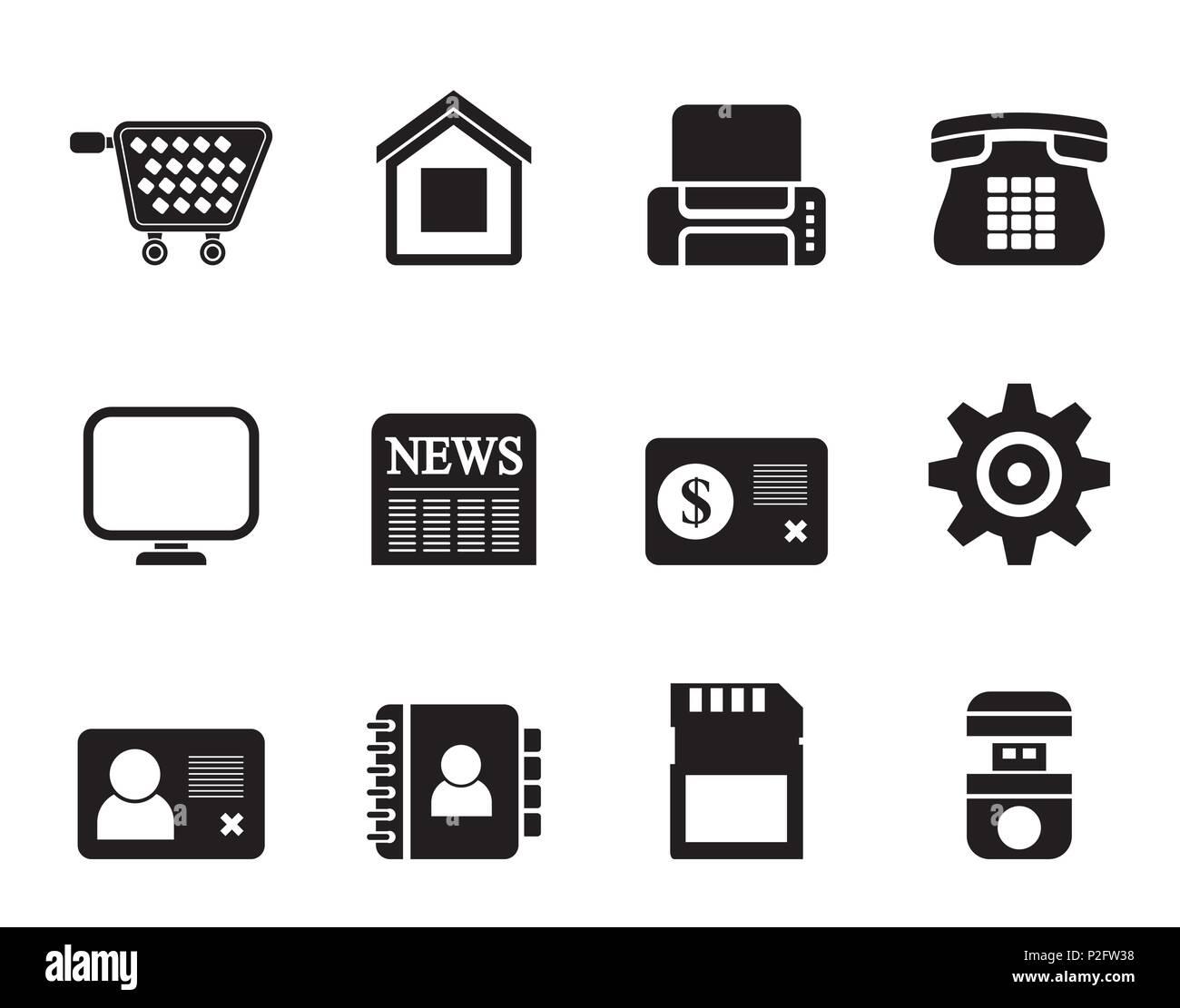 Silhouette Geschafts Buro Und Website Symbole Vektor Icon Set