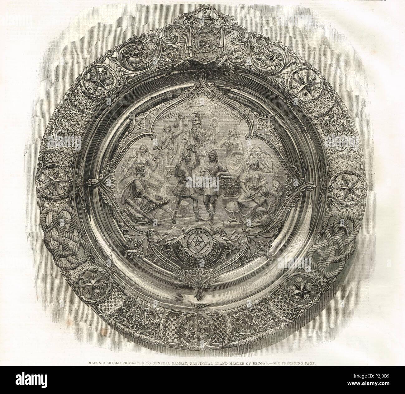 Masonic Schild, General Ramsay präsentiert, Provinz Grand Master von Bengalen, Indien Stockbild