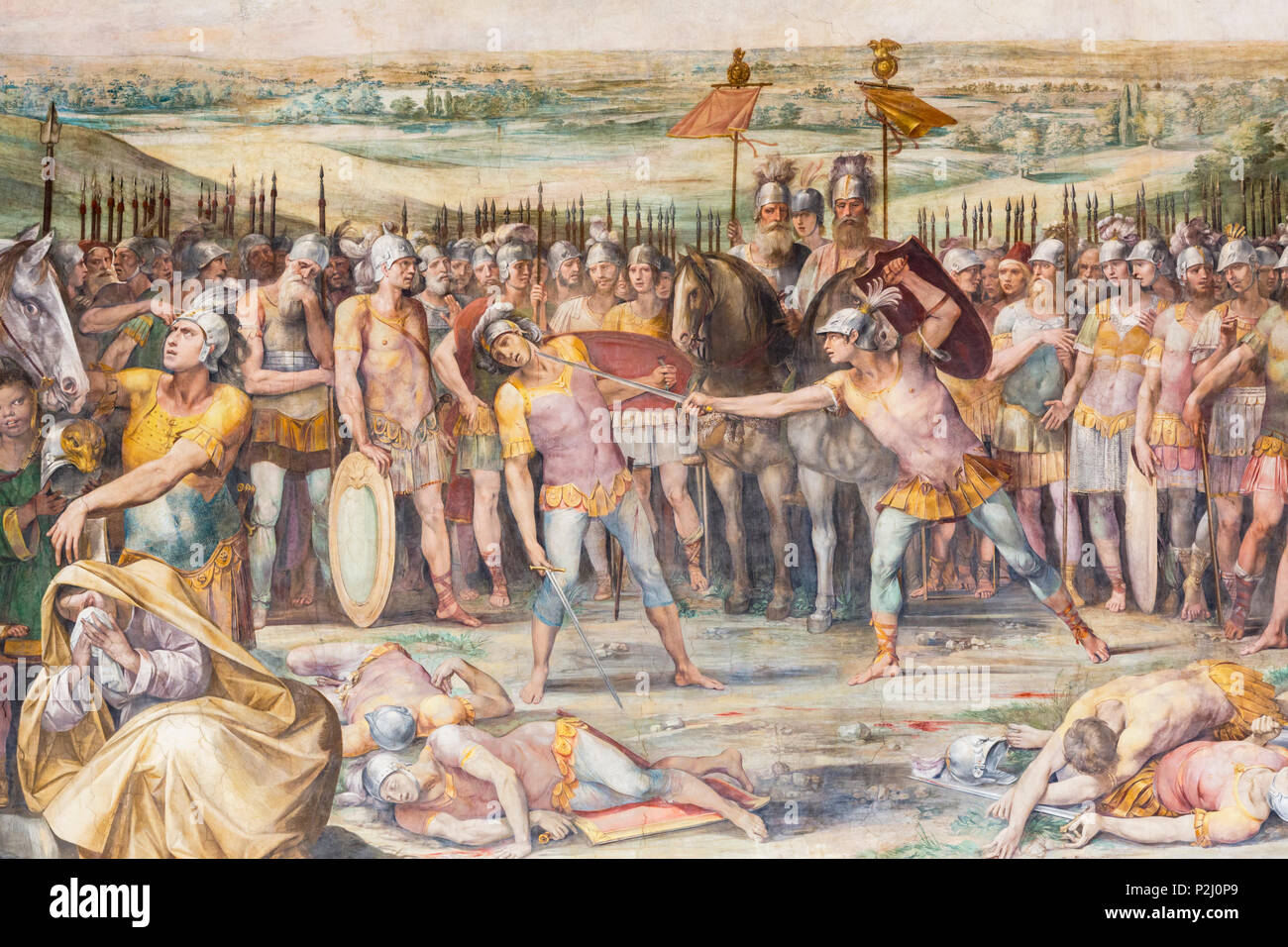 Rom, Italien. Die Kapitolinischen Museum. Kampf zwischen Horatii und Curiatii, ein Fresko in der Großen Halle, die auch als Horatii und Curatii Zimmer bekannt. Pa Stockbild