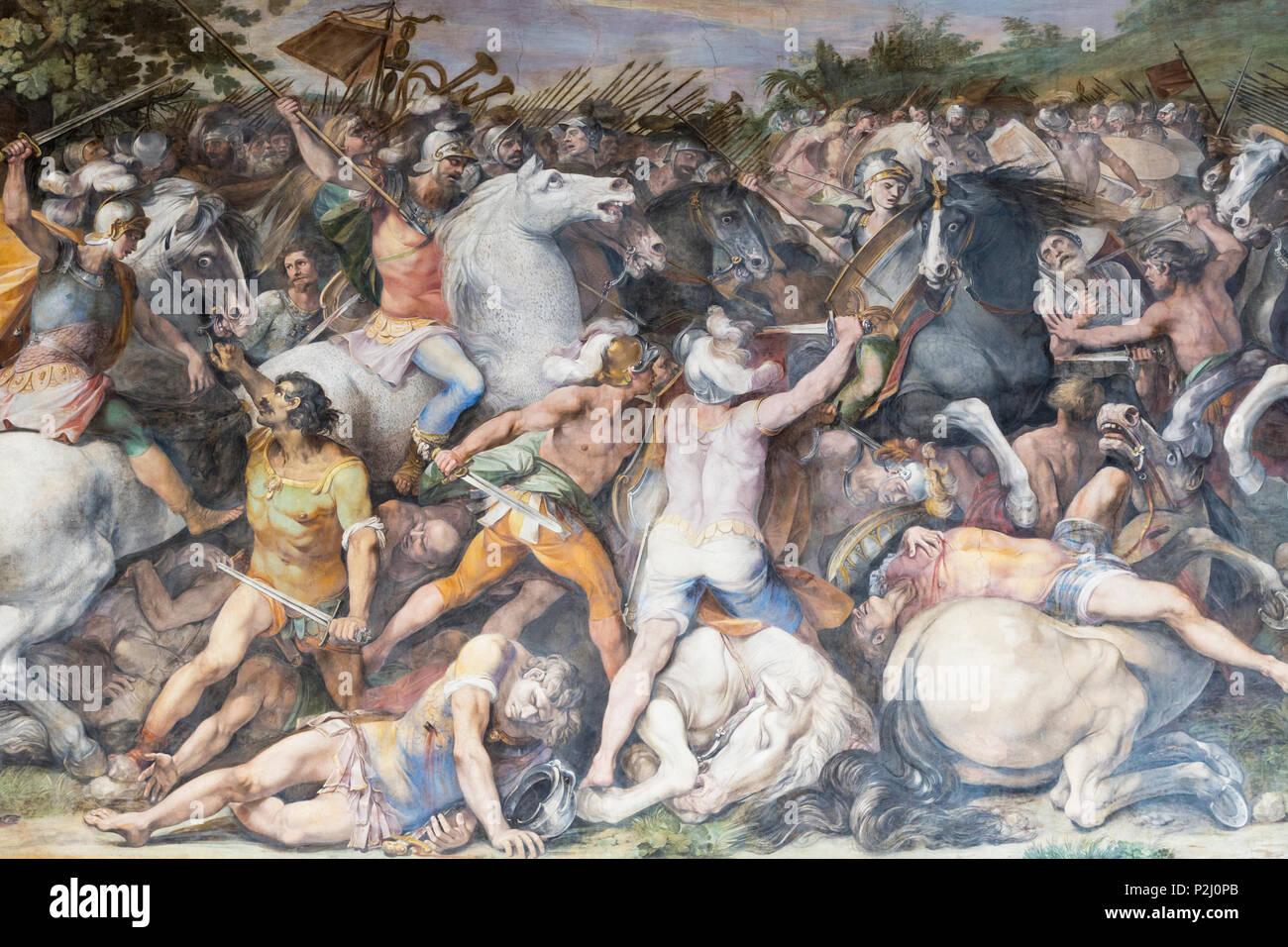 Rom, Italien. Die Kapitolinischen Museum. Schlacht von Tullus Hostilius gegen die Veientes und die Fidenates, ein Fresko in der Großen Halle, die auch als DAS bekannt Stockbild
