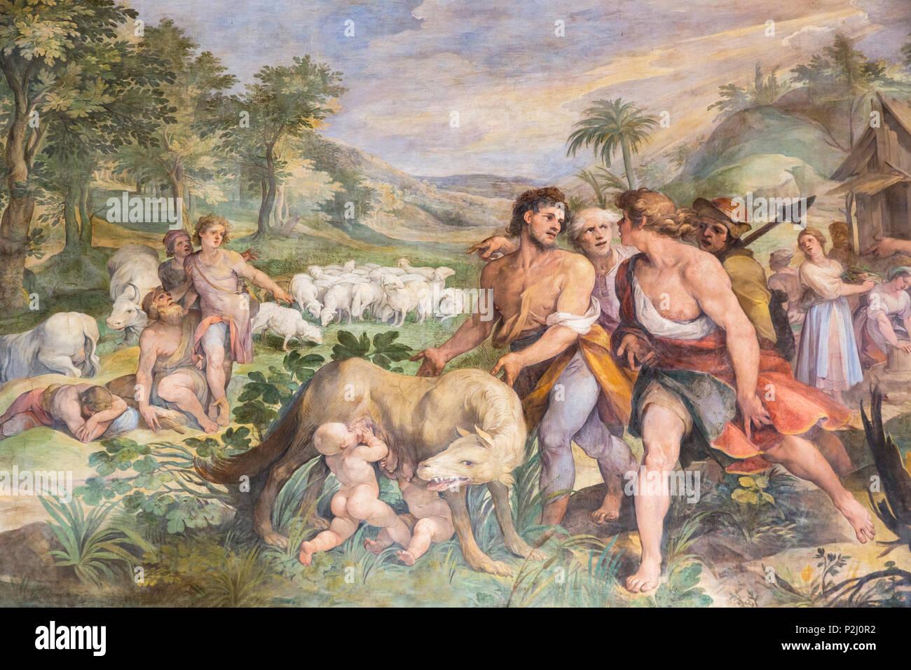 Rom, Italien. Die Kapitolinischen Museum. Diagnose der Wölfin mit Romulus und Remus, ein Fresko in der Großen Halle, auch bekannt als Horatii und Curatii Stockbild
