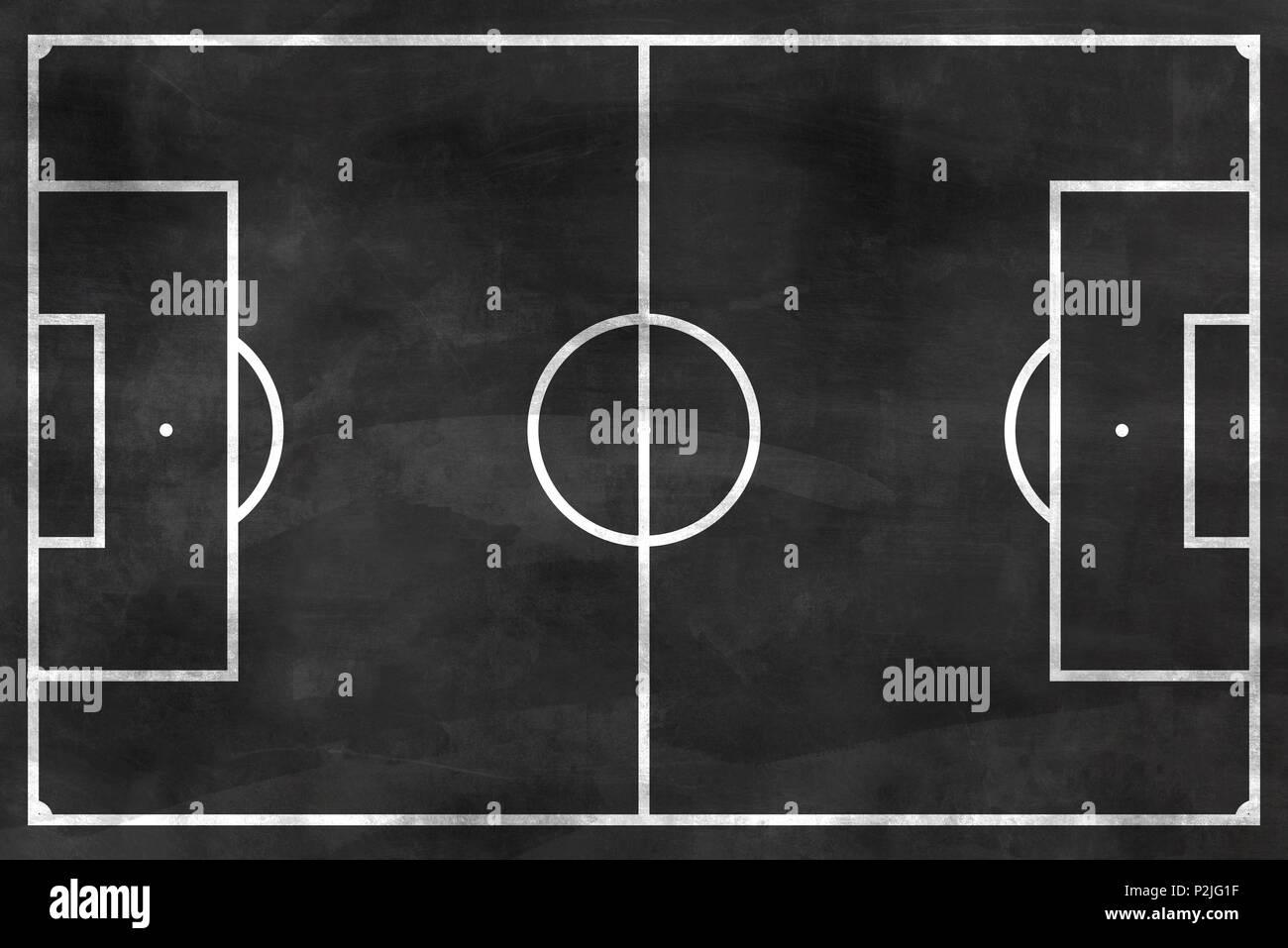 Fussball Feld Auf Schwarz Schwarzes Brett Stockfoto Bild