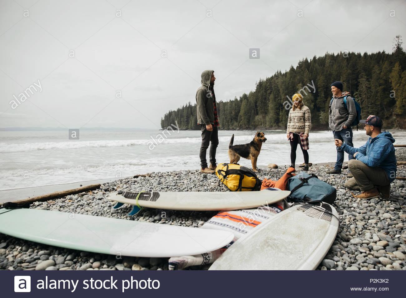 Freunde mit Hund genießen Wochenende surfen Kurzurlaub neben Surfbrettern auf robusten Strand Stockbild