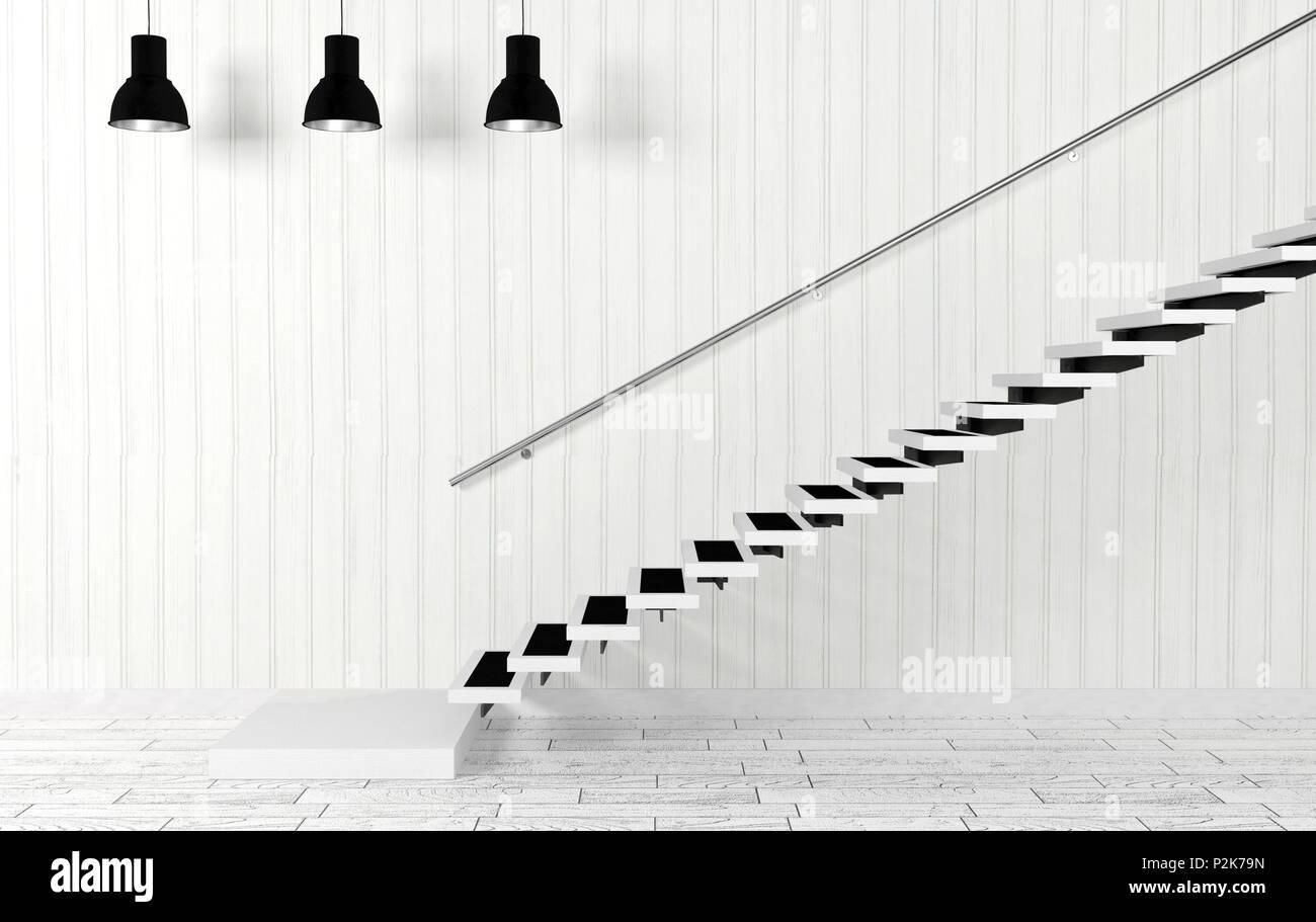 Moderne Lampen 79 : Weiße inneneinrichtung mit treppe und decke lampen in modernen und