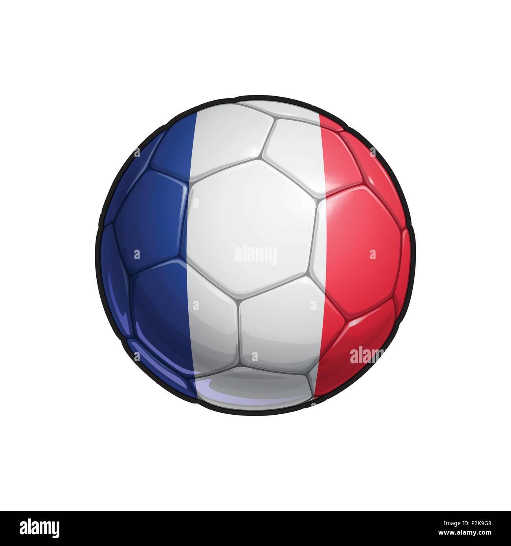 Vector Illustration eines Fußball - Fußball mit der Französischen ...