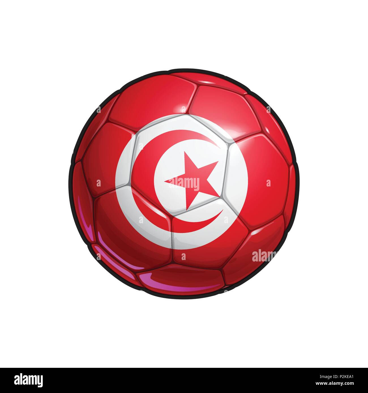 Vector Illustration eines Fußball - Fußball mit dem Tunesischen ...