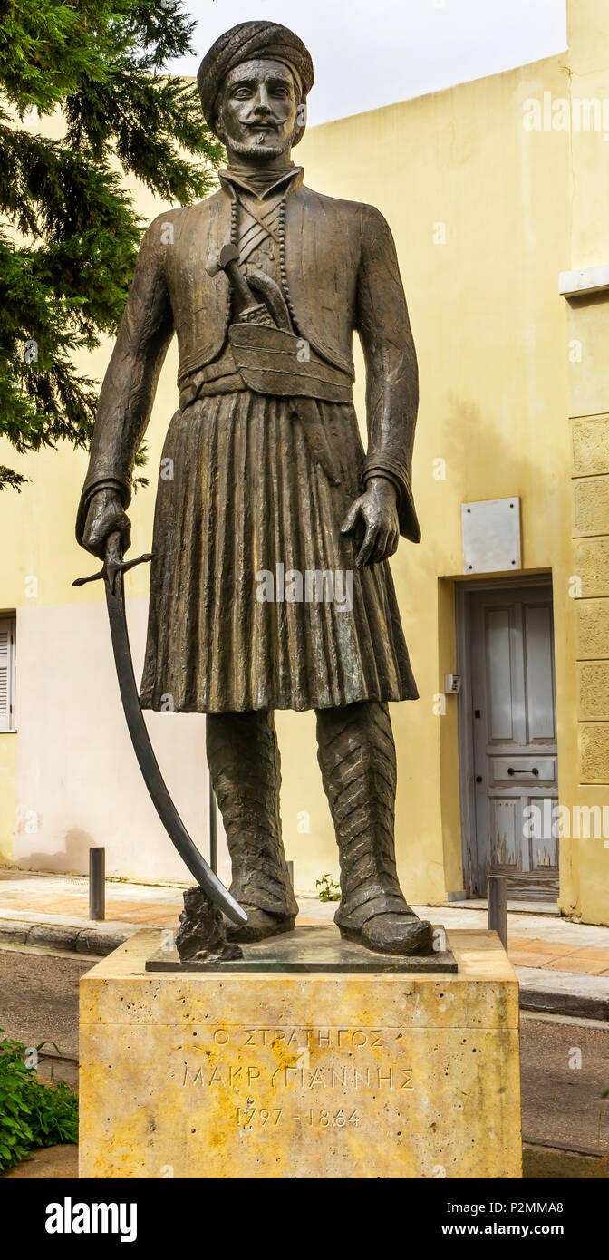 Allgemeine Yannis Makriyiannis Statue Akropolis Athen Griechenland. Allgemeine Makriyiannis war ein berühmter griechischer Unabhängigkeit Kämpfer und später Thema. Stockbild