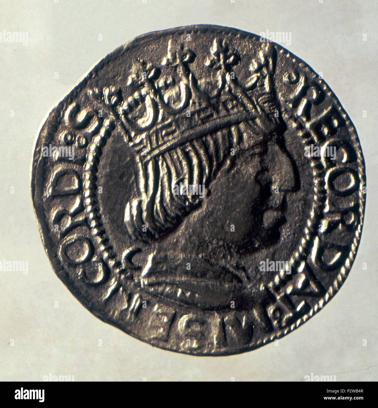 Moneda De Oro De La Corona De Aragon S Xv Det Moneda Efigie De Rey