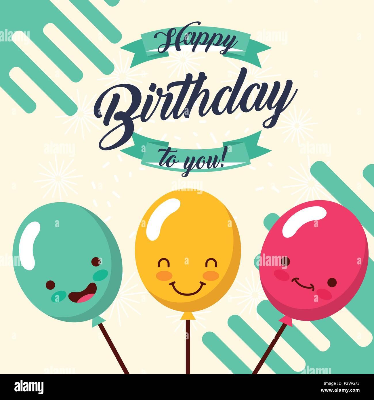 Kawaii Luftballons In Stick Feier Happy Birthday Card Vector Illustration