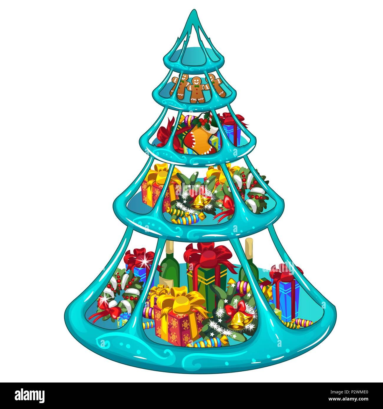 Tiered Eisschale mit Weihnachten Geschenke, Süßigkeiten und ...