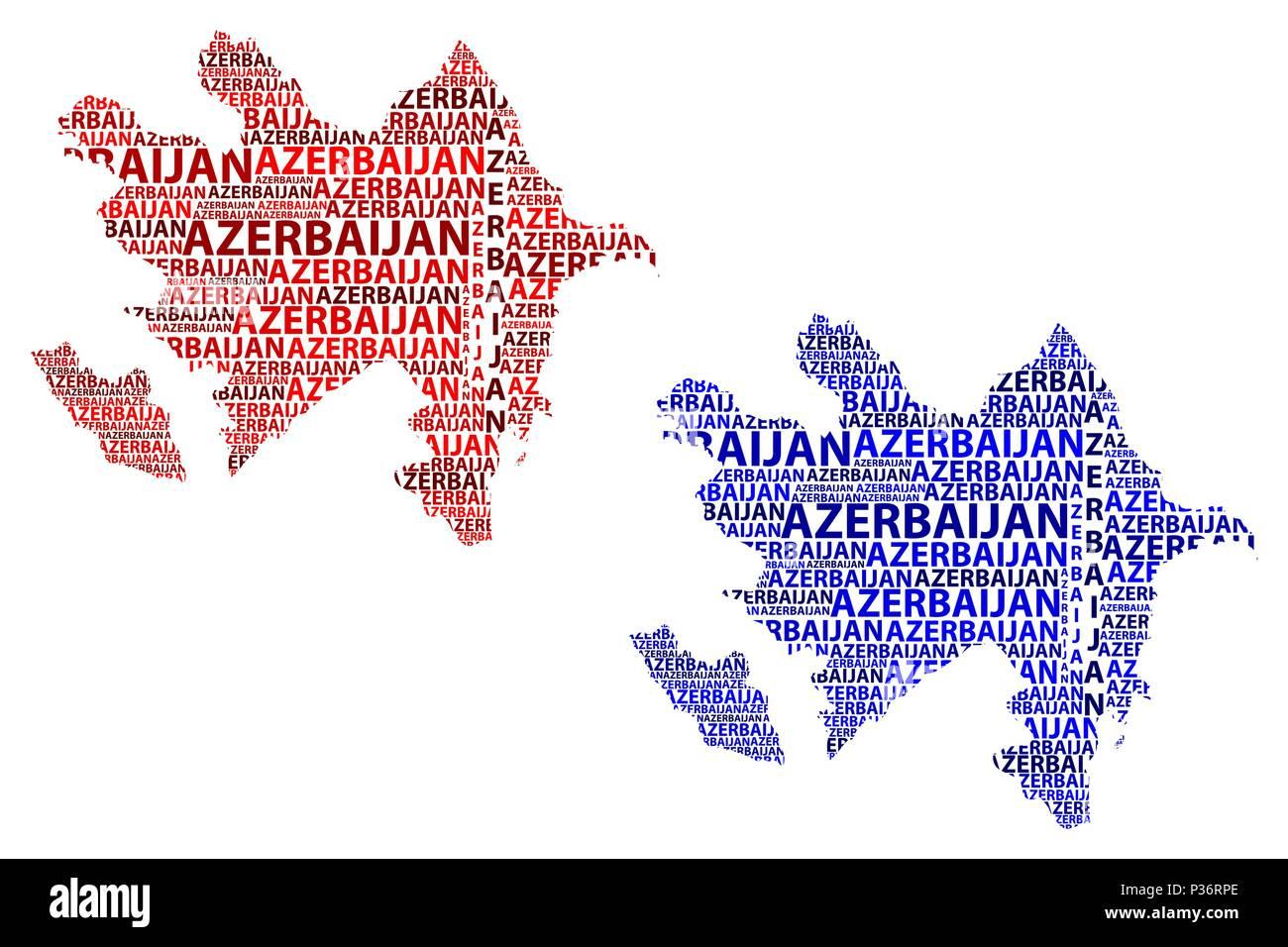 Skizze Aserbaidschan Schreiben Text Karte Aserbaidschan In Der Form Des Kontinents Karte Republik Aserbaidschan Rot Und Blau Vector Illustration Stock Vektorgrafik Alamy