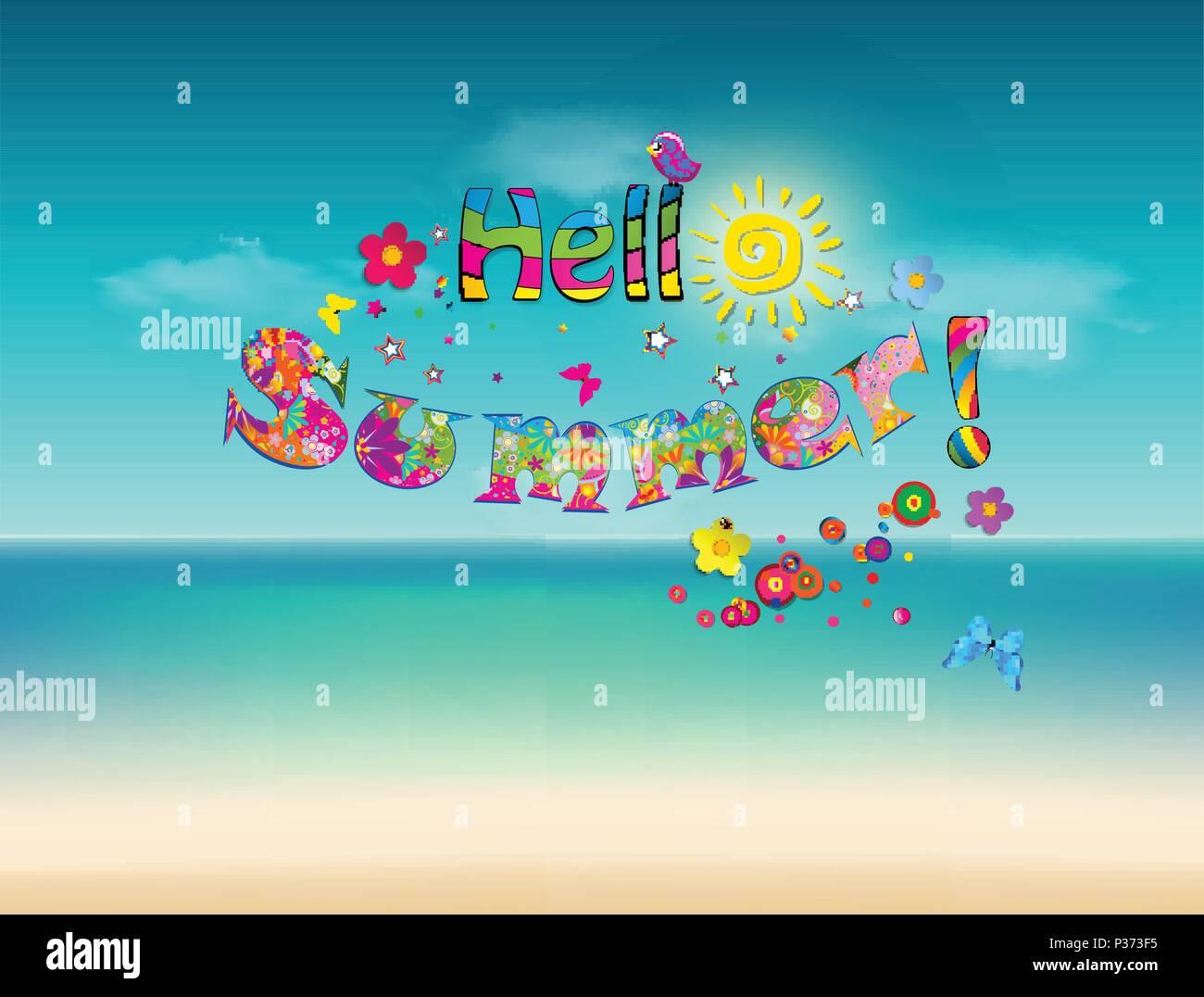 hallo sommer vektor cartoon schrift typografie mit