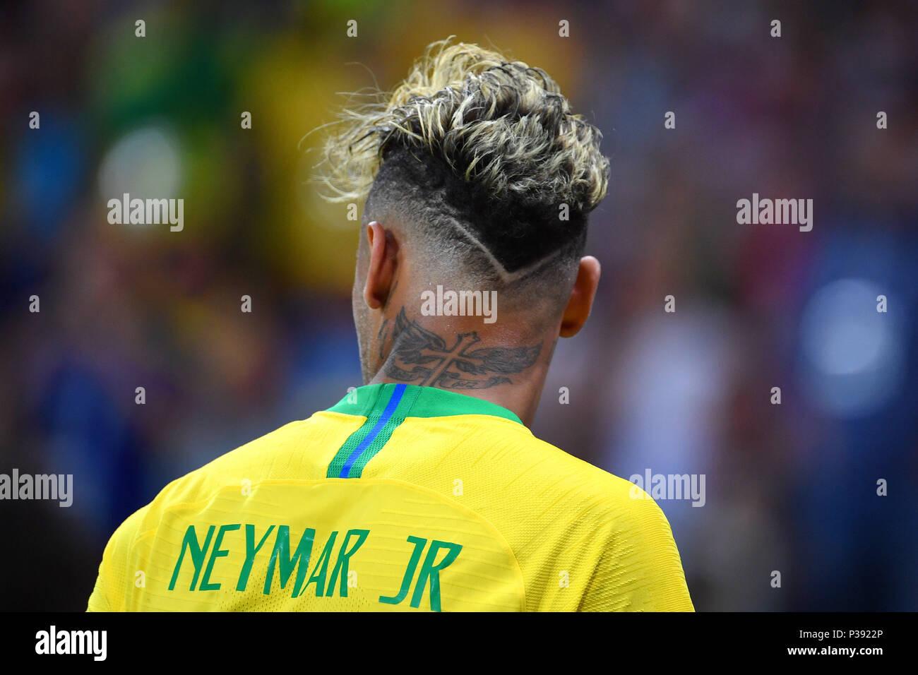 neymar (bra), rückseite des kopfes, frisur, aktion, single bild