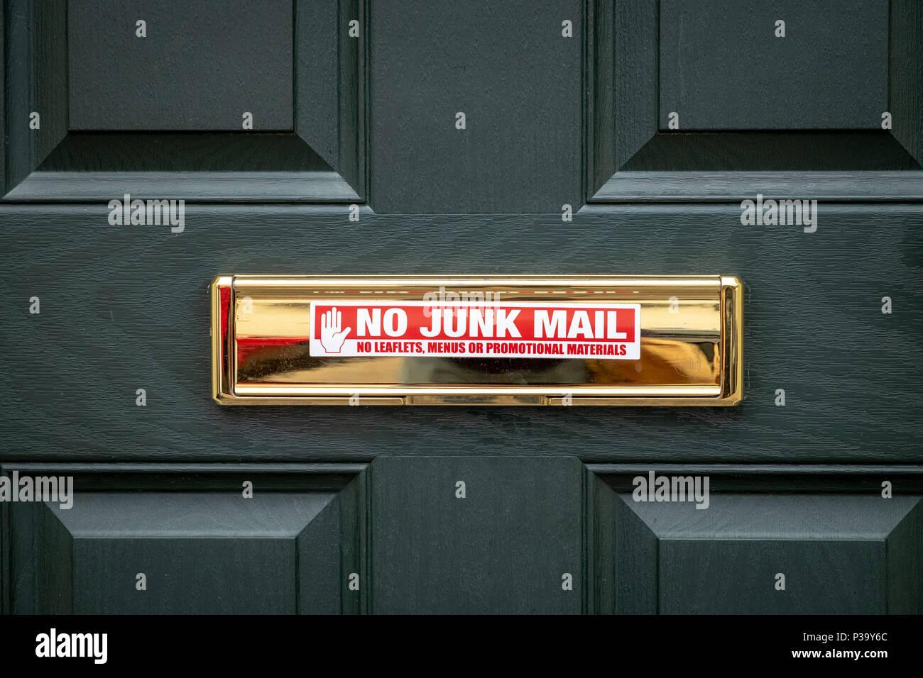 Keine Unerwünschte Werbung Aufkleber Auf Messing Briefkasten