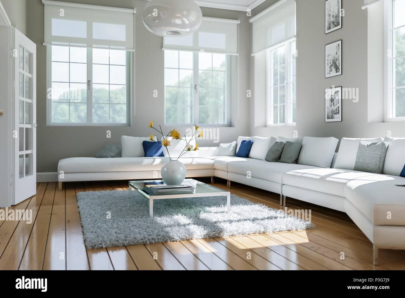 Modernes Weisses Wohnzimmer Interior Design Stockfoto Bild