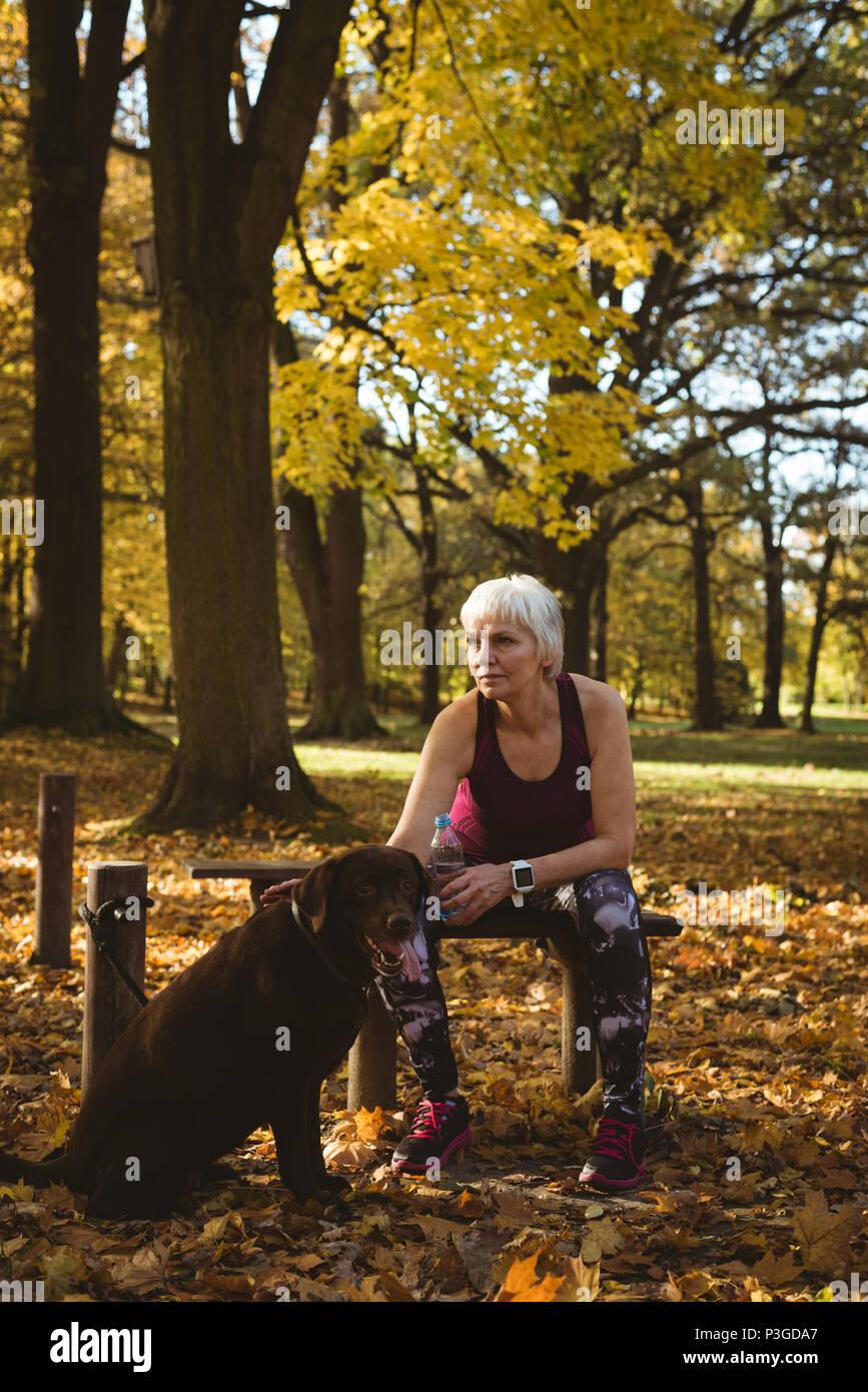 Nachdenklich ältere Frau in einem Park mit Ihren Hund Stockbild