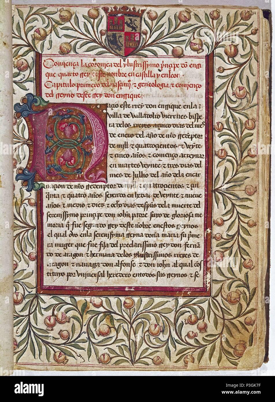 CRONICA DE ENRIQUE IV DE CASTILLA - MS2573 - SIGLO XV. Autor ...