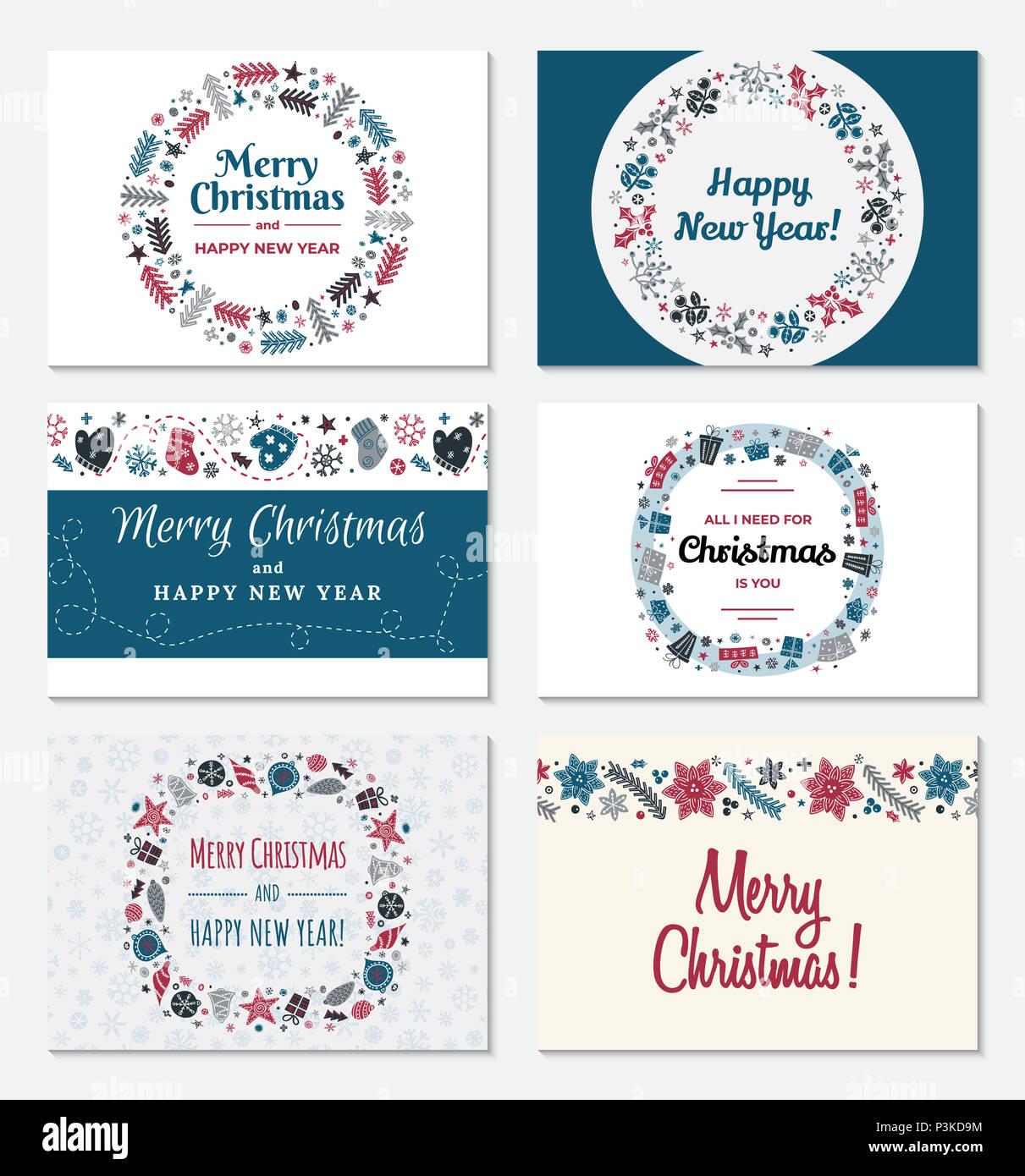 Satz von Weihnachten Grußkarte in trendigem skandinavischen Stil ...