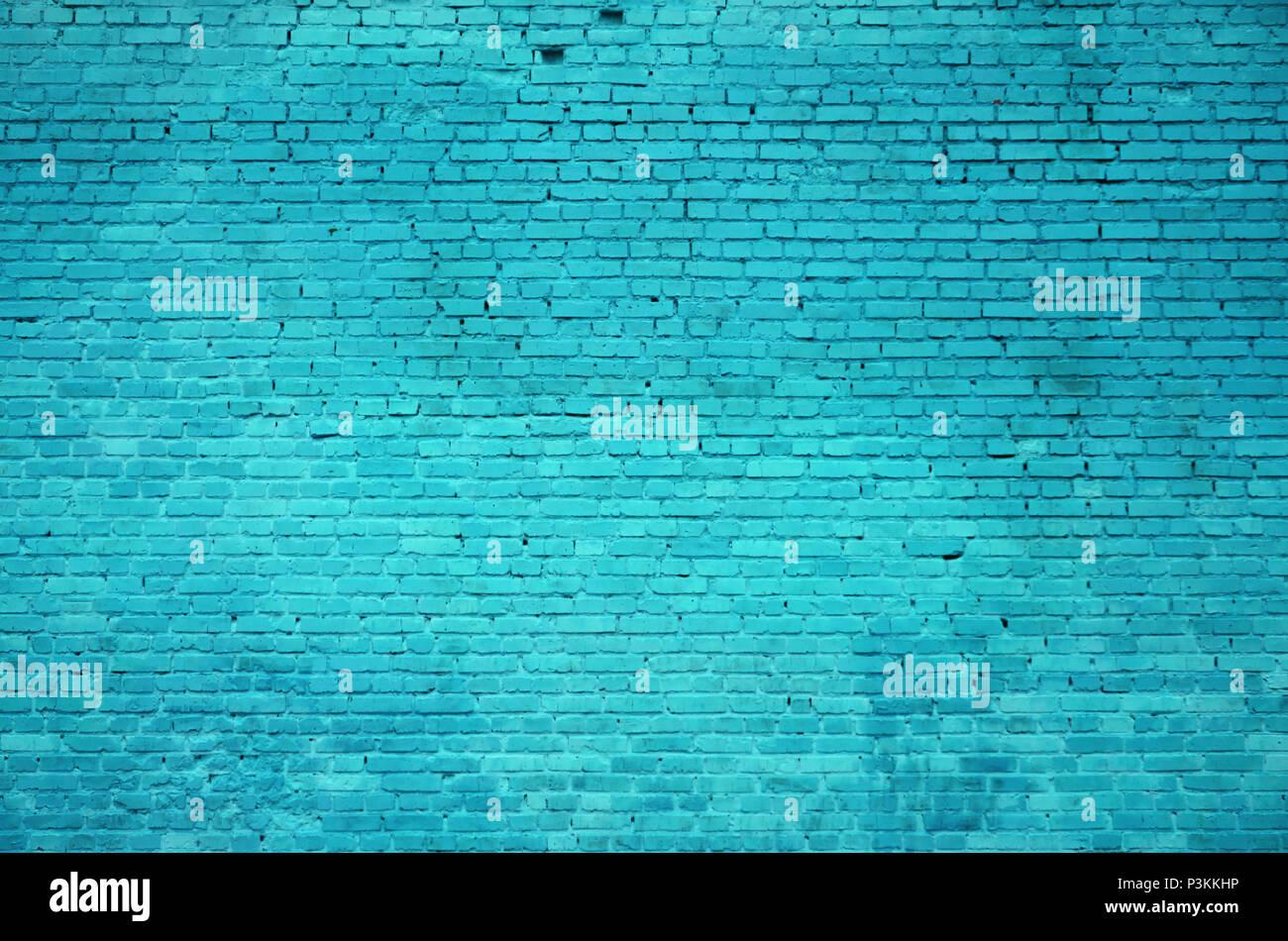 Die Textur Der Mauer Vieler Zeilen Von Ziegeln In Cyan Farbe Lackiert
