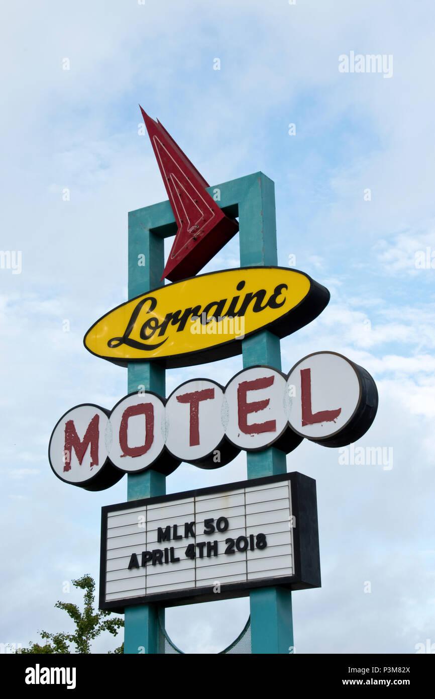 Zeichen der ehemaligen Lorraine Motel, wo Martin Luther King 1968 ermordet wurde, jetzt das National Civil Rights Museum, Memphis, Tennessee. Stockfoto