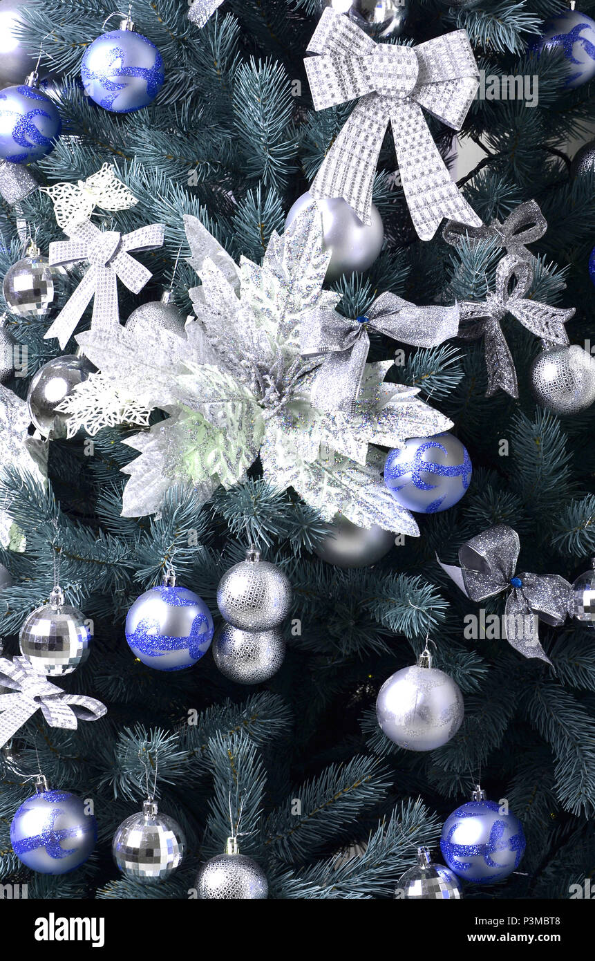 Christmas Tree Branches And Ornament Close Up Stockfotos & Christmas ...