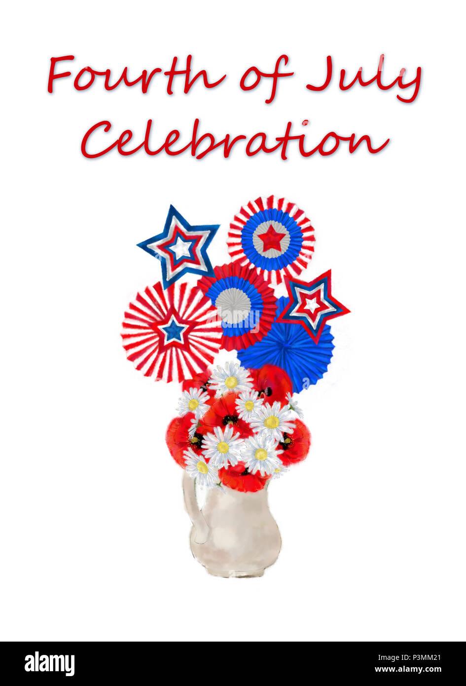 Große 4. Juli Blumenschmuck mit Trikolore kokarden und Sterne. Daisy und Poppy Bouquet dekoriert mit patriotischen Kokarden und Sterne. Stockbild
