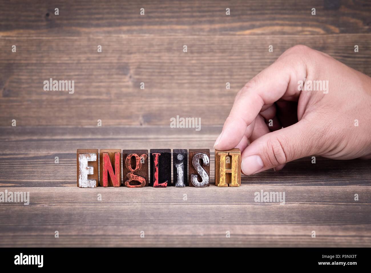 Deutsch, Englisch, Bildung und Business Konzept Stockbild