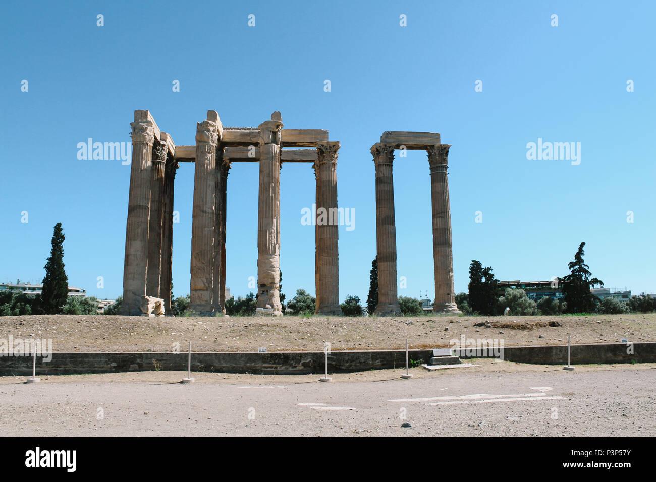 Der Tempel des Olympischen Zeus in Athen, Griechenland Stockbild