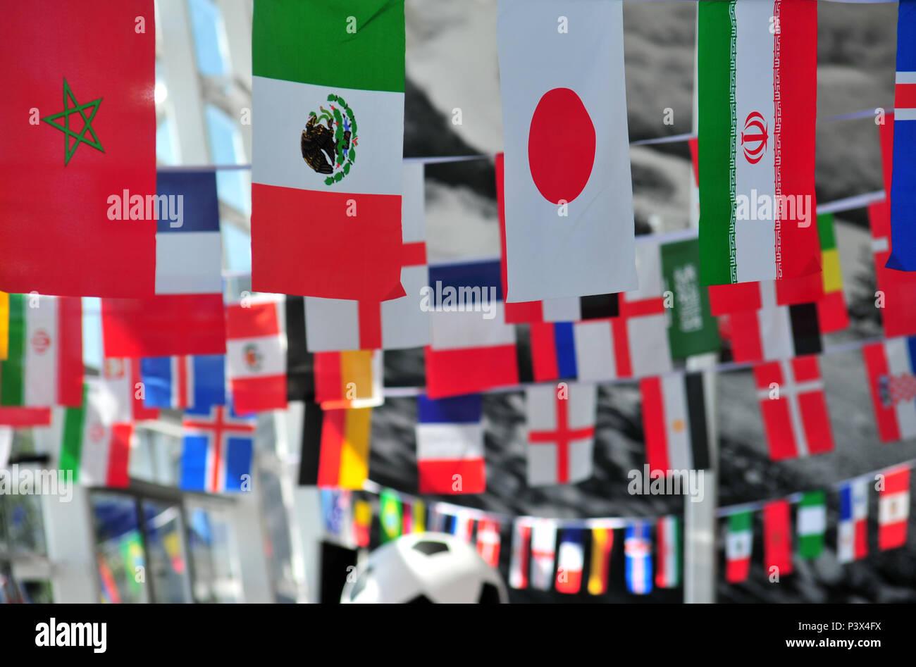 Flaggen Verschiedener Lander Spielen In 2018 Fussball Wm