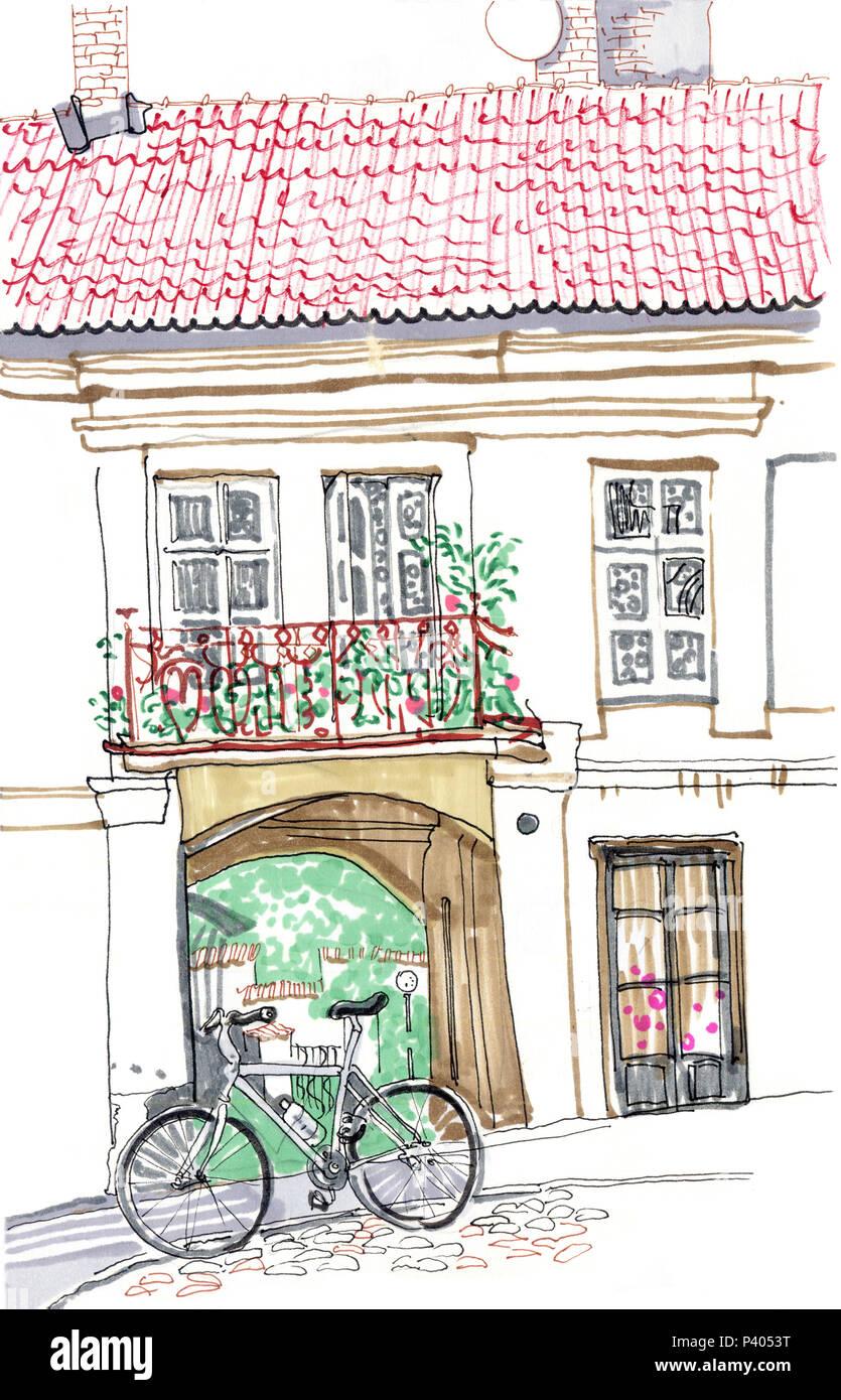 Altstadt Europaische Strasse Handskizze Stil Markierstift Abbildung