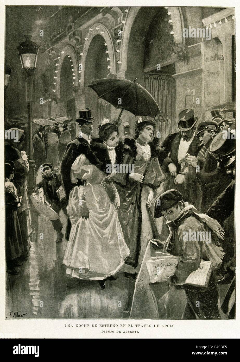 ILUSTRACION ESPAÑOLA Americana - 1896 - UNA NOCHE DE REFRIGERADOR EN EL  TEATRO APOLO - GRABADO SIGLO XIX. Autor  LAPORTA. 1e26026255c