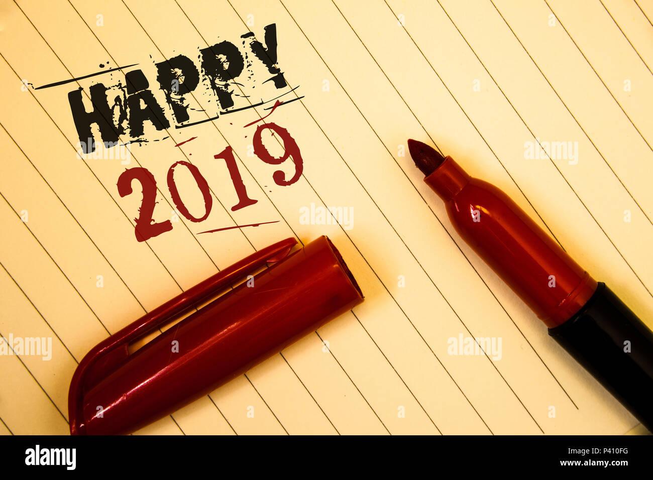 Text Zeichen anzeigen Happy 2019. Konzeptionelle foto Neues Jahr ...
