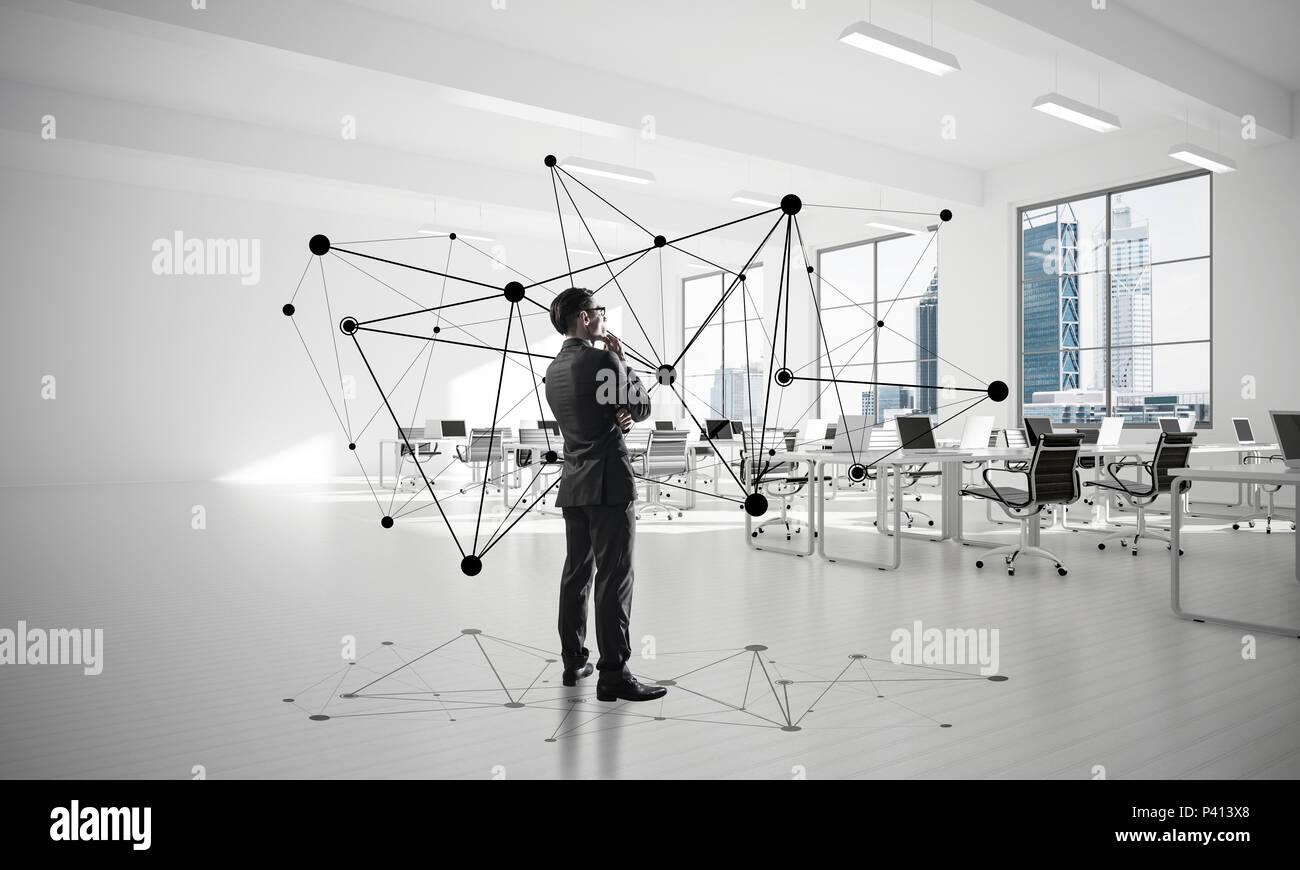 Netzwerke und soziale Kommunikationskonzept als wirksame Punkt f Stockbild