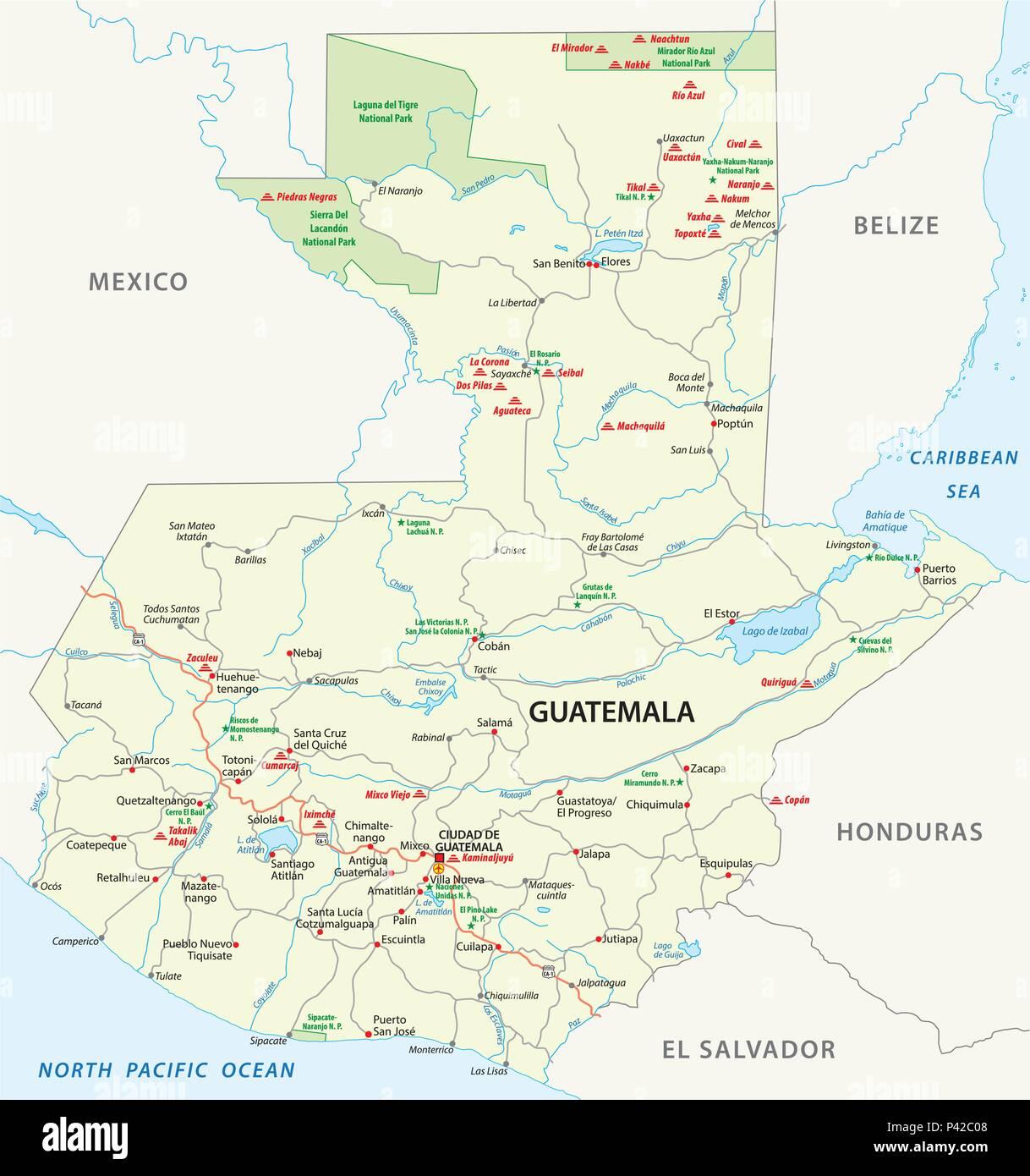 Guatemala Karte.Vektor Straße Karte Von Guatemala Mit Den Wichtigsten Maya Ruinen