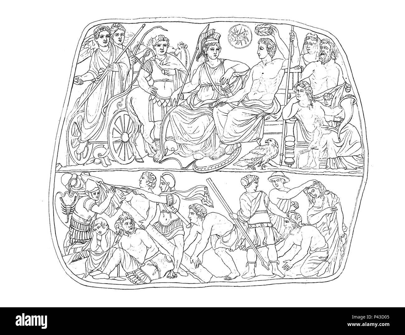 Apotheose, vergöttlichung und Vergöttlichung des römischen Kaisers Augustus, Apotheose, Erhebung des Menschen zu einem Gott oder Halbgott, des römischer Kaiser Augustus, 43 v. Chr - 14 n.Chr, digital verbesserte Reproduktion einer historischen Bild Stockbild
