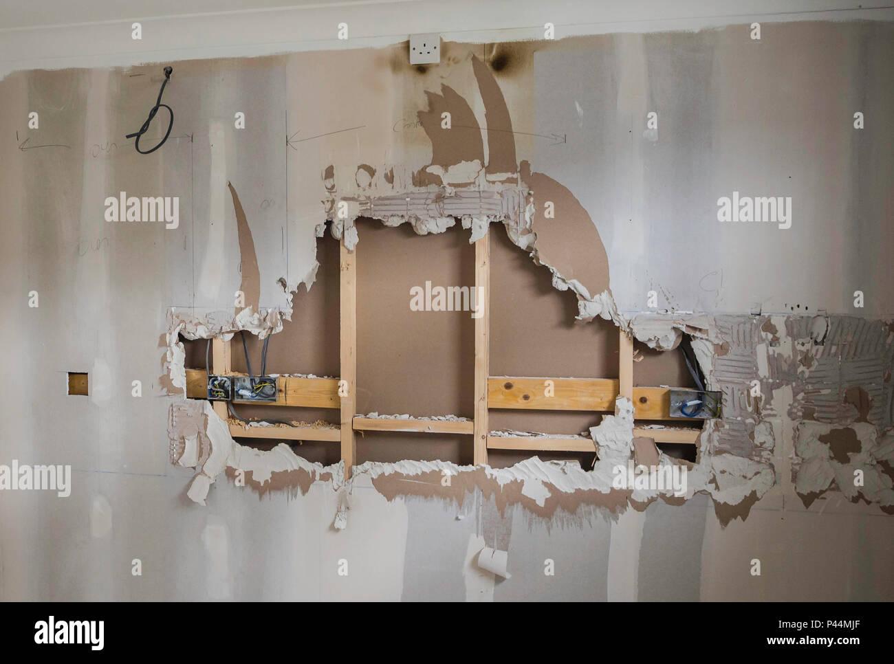 Phasen einer Küche Renovierung und Sanierung Stockbild