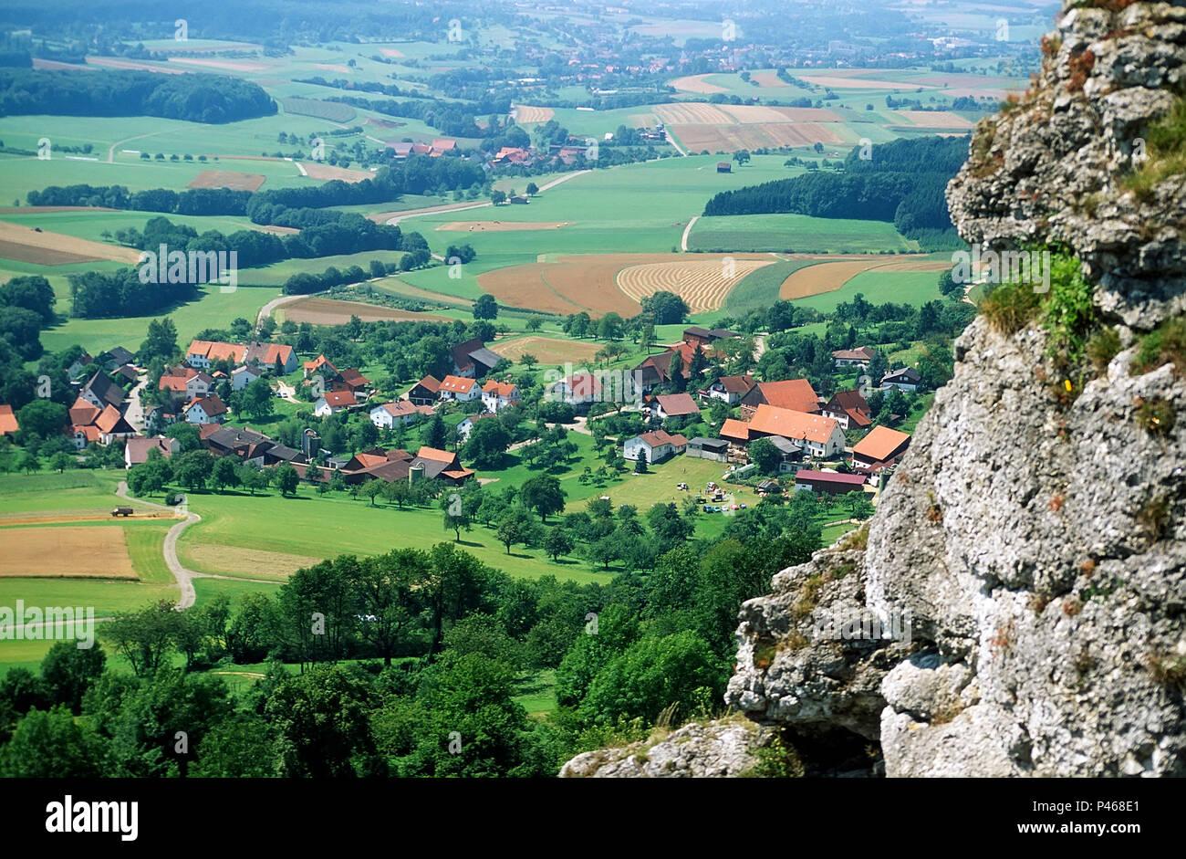 Das Dorf Beuren in Esslingen, Baden Wurttemburg in Süddeutschland Stockbild