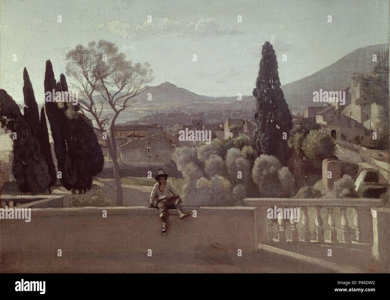 Die Garten Der Villa D Este Tivoli 1843 28 X 50 Cm Ol Auf