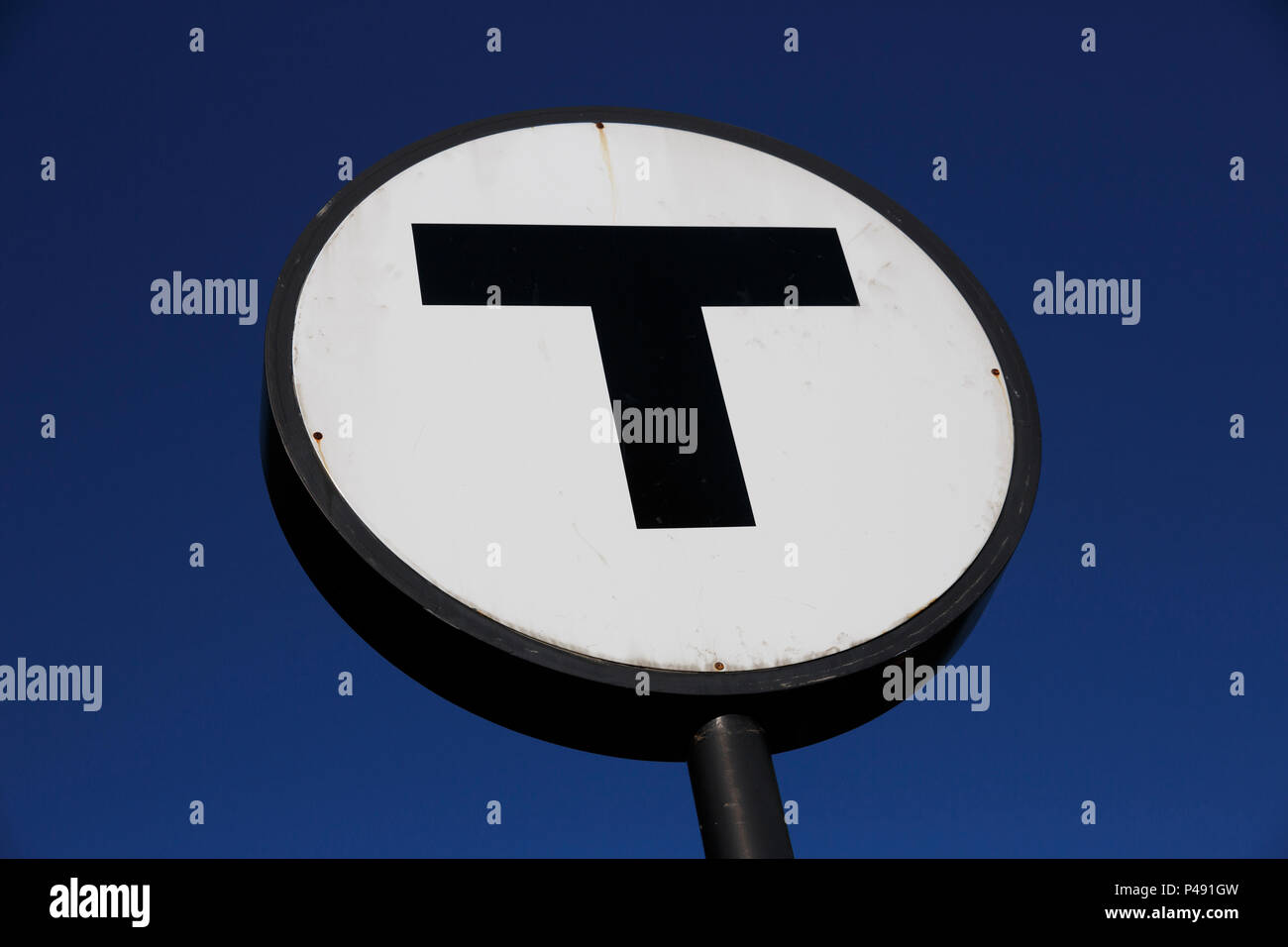 T-Logo für die Boston Massachusetts transit system Stockbild