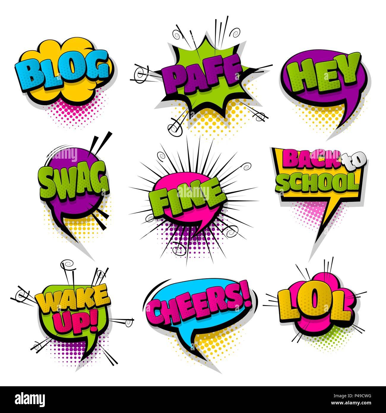 Hey Blog lol feine Reihe Hand gezeichnete Bilder Effekte Vorlage ...