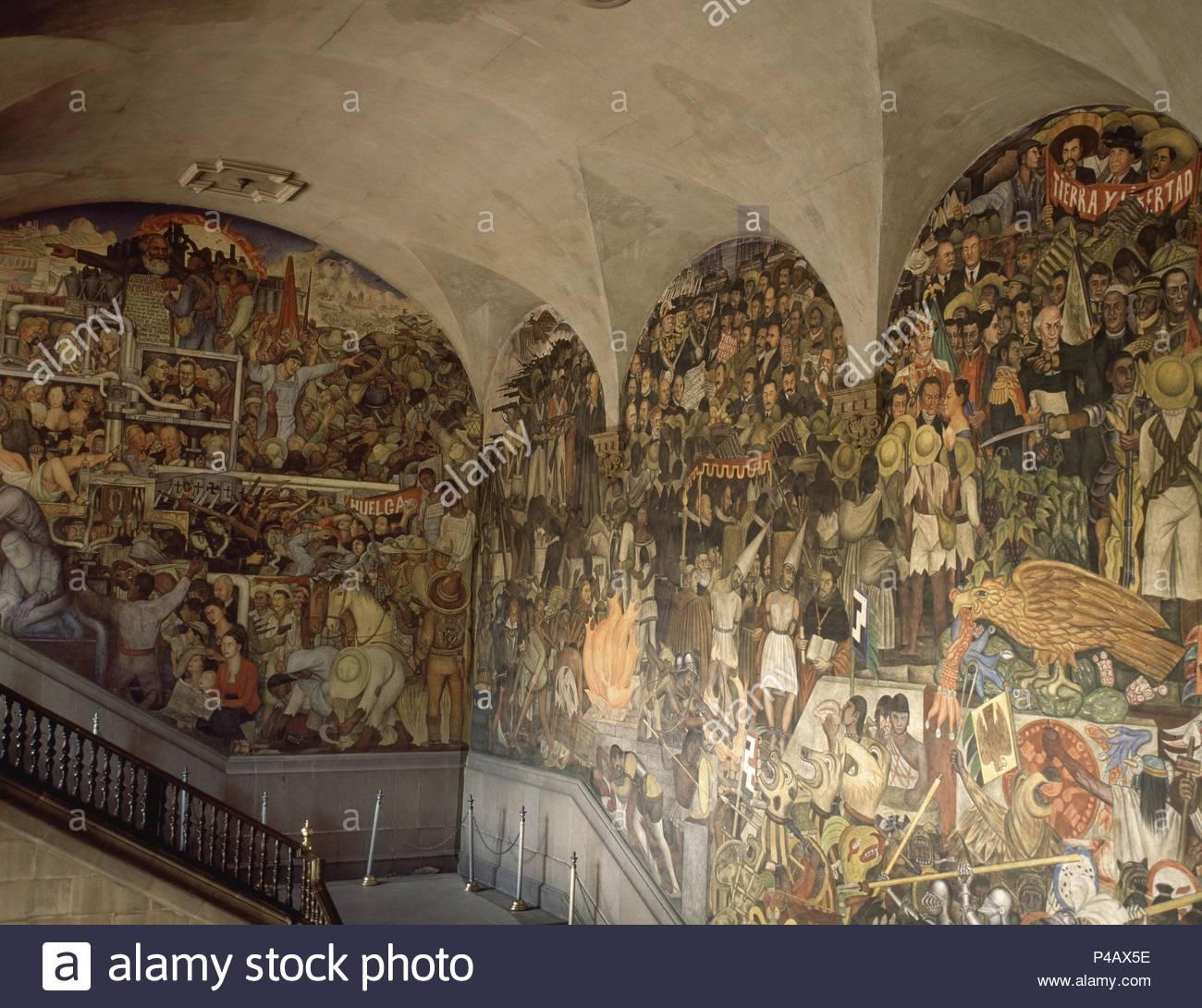 Escalera Principal Pinturas Murales De La Historia De Mexico