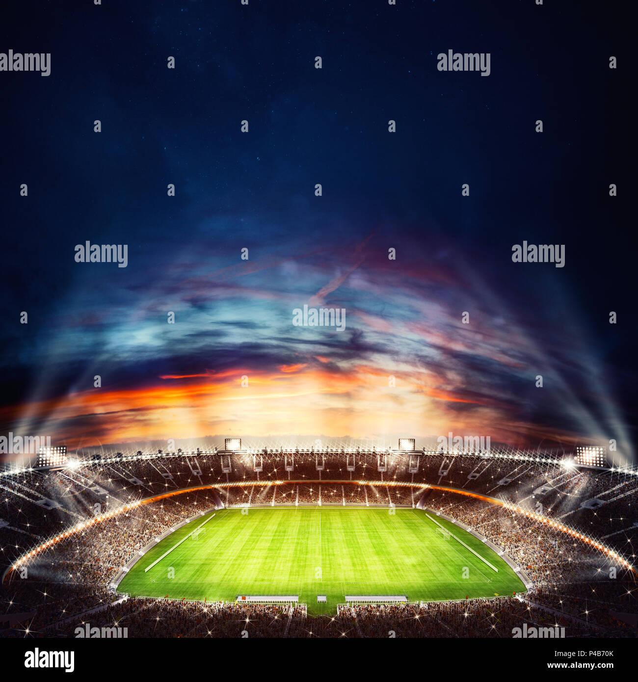 Blick Von Oben Auf Ein Fussball Stadion Bei Nacht Mit Den