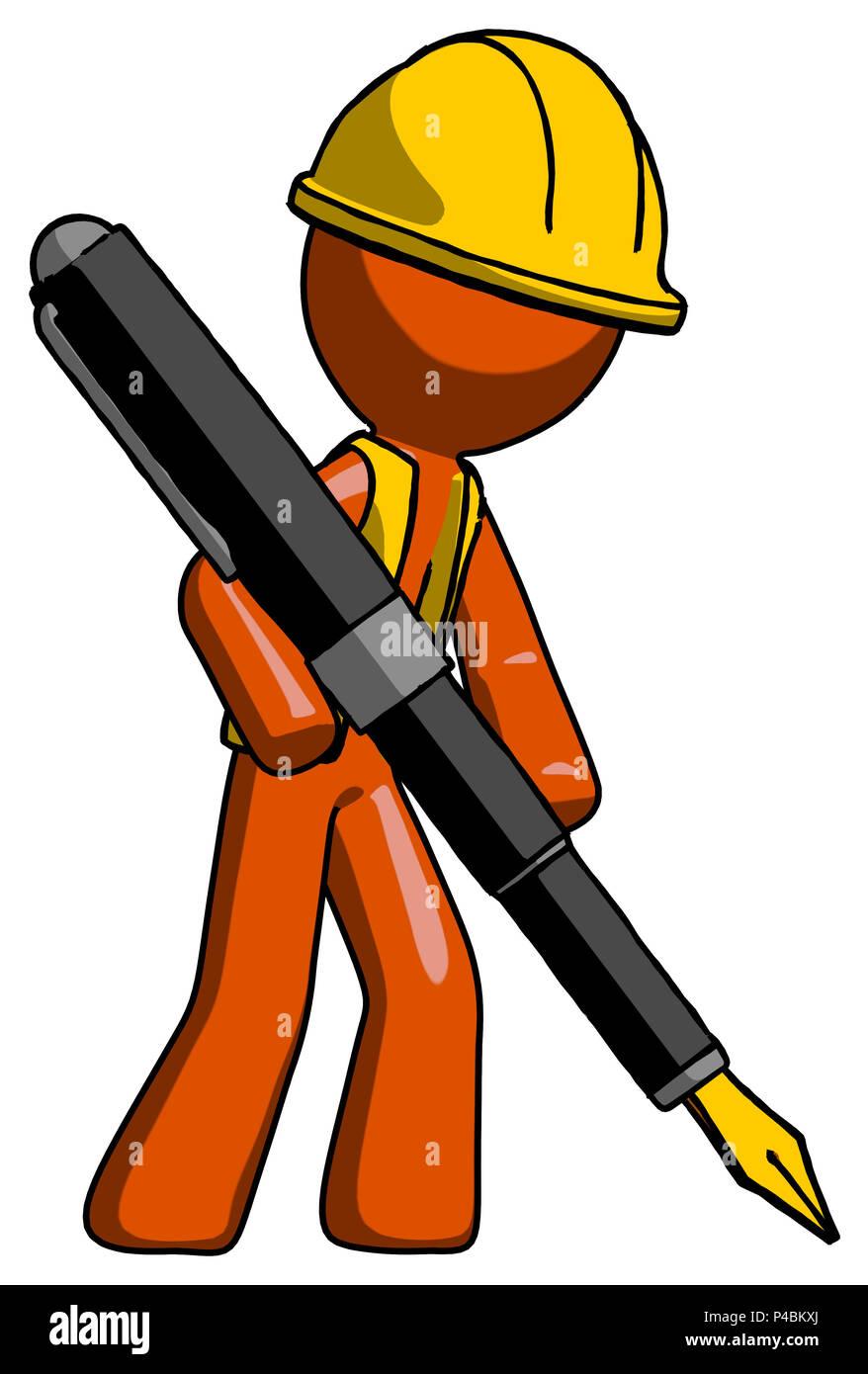 Orange Bauarbeiter Auftragnehmer Mann Zeichnen Oder Schreiben Mit