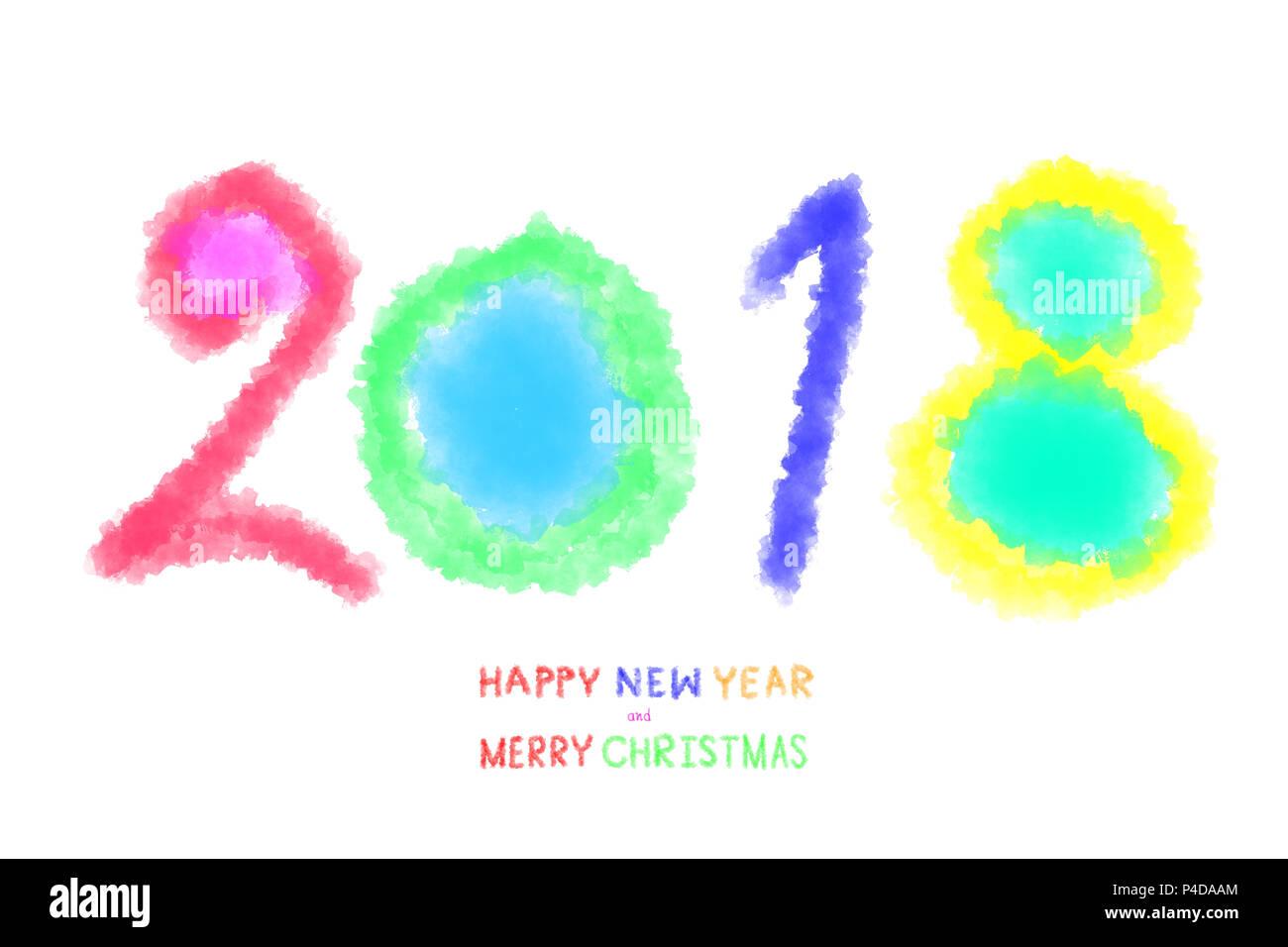 2018 Frohes Neues Jahr und Frohe Weihnachten. Text kalligrafischen ...