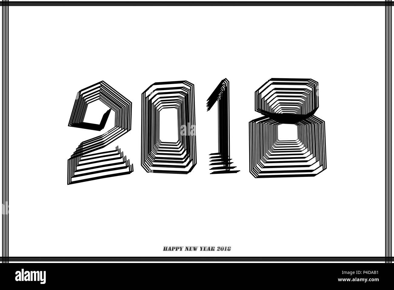 2018 Frohes neues Jahr. Text kalligrafischen Schrift design Karte ...