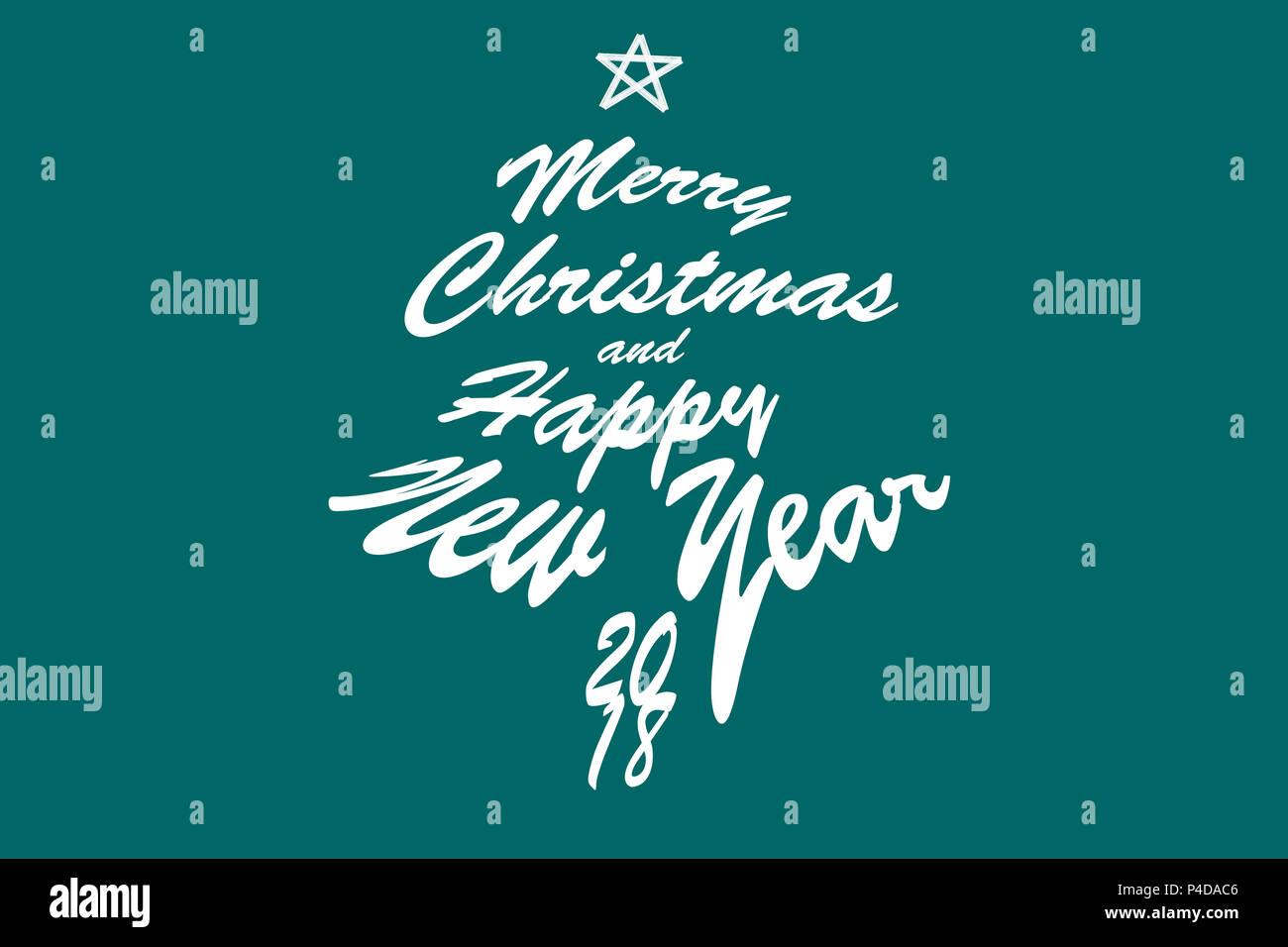 2018 Frohe Weihnachten und ein glückliches Neues Jahr. Text ...